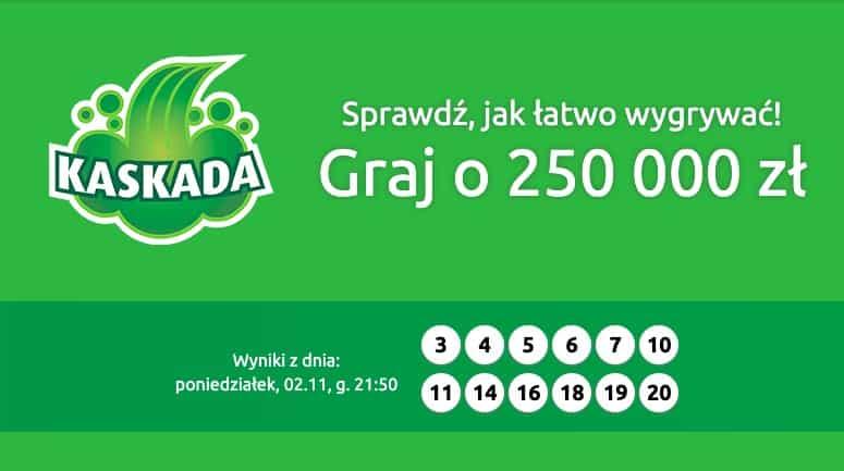 Kaskada wyniki online. Wygrałeś 250 000 zł?