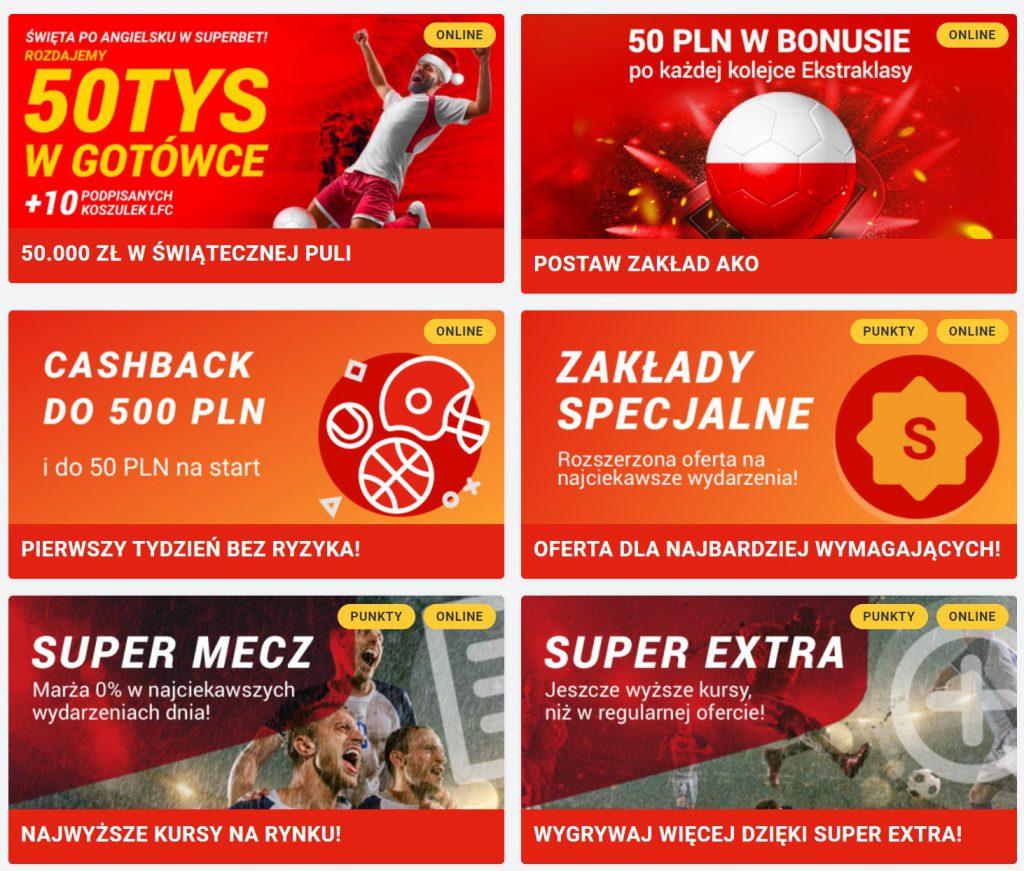 bonusy bukmacherskie w Superbet